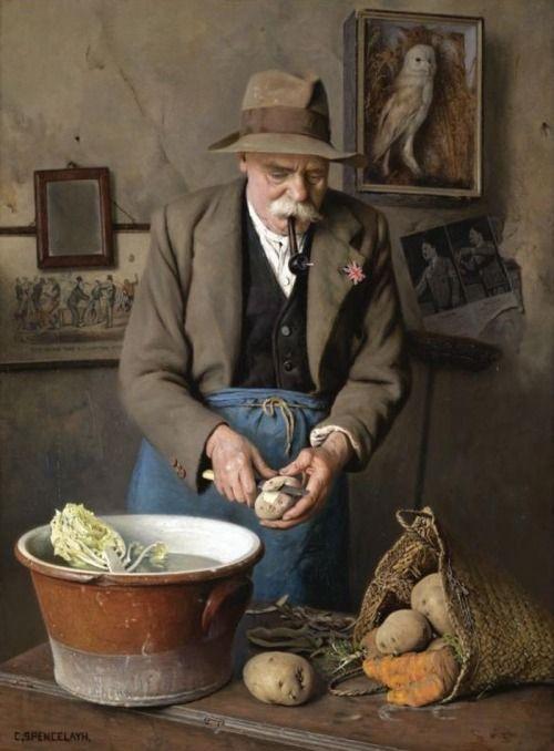 arte-y-cosas-de-belleza: Charles Spencelayh (British, 1865-1958) Dig for Victory - El Sabio consumen más papas.  óleo sobre lienzo, 58 x 43 cm.