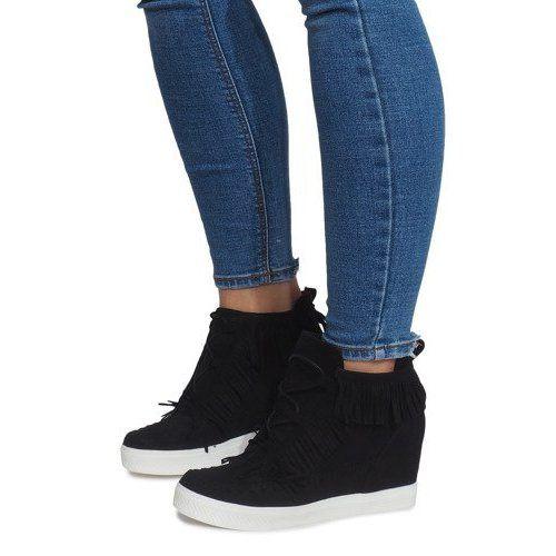 Sneakersy Na Koturnie Z Fredzlami Boho At 0613 1 Czarny Czarne Trainers Women Wedge Sneakers Boho