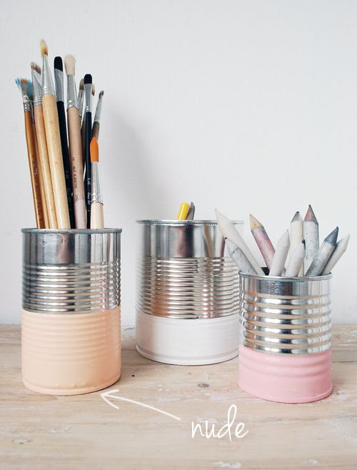 25 Recycled Tin Can Crafts and Projects in honor of Earth Day, including this cute idea for simple pastel painted pencil cups. Doing this for my sewing studio.