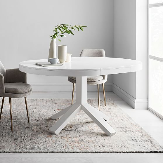 Poppy Expandable Dining Table Round 42 60 White In 2019