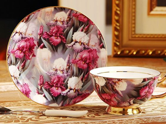 Purple Dream Bloom Floral Bouquet Tea Cup & Saucer & Spoon Set