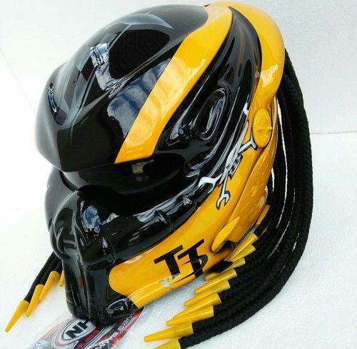 New Design Predator Helmet Yellow Black Gloss Dot Approved