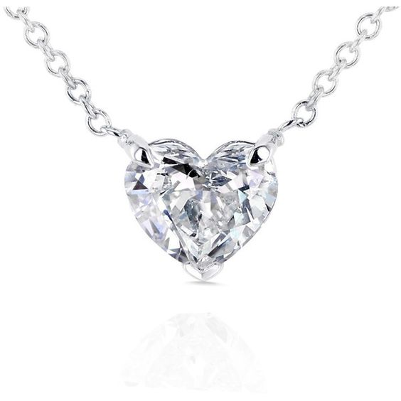 Floating Heart Diamond Necklace 3/4 CTW in 14K White Gold (Certified,... ($1,999) ❤ liked on Polyvore featuring jewelry, necklaces, white gold diamond necklace, heart shaped diamond pendant, white gold heart pendant, heart pendant necklace and heart necklace