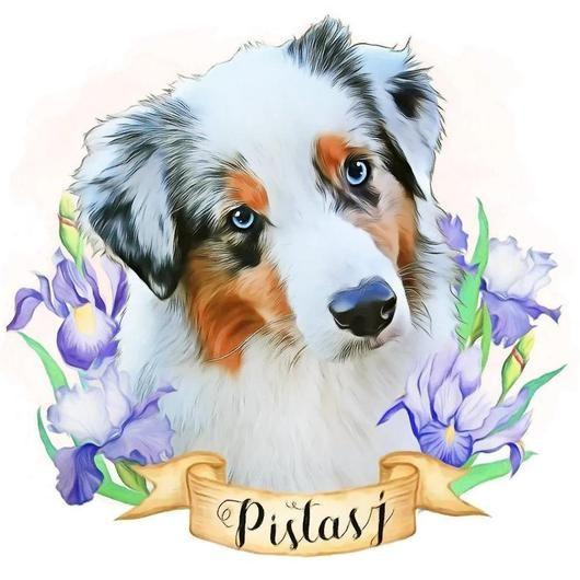 Custom Pet Portraits With Purple Iris Flowers In 2020 Pet Portraits Custom Pet Portraits Dog Portraits