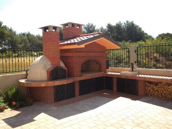 barbecue with wood fired brick oven chimeneas y. Black Bedroom Furniture Sets. Home Design Ideas