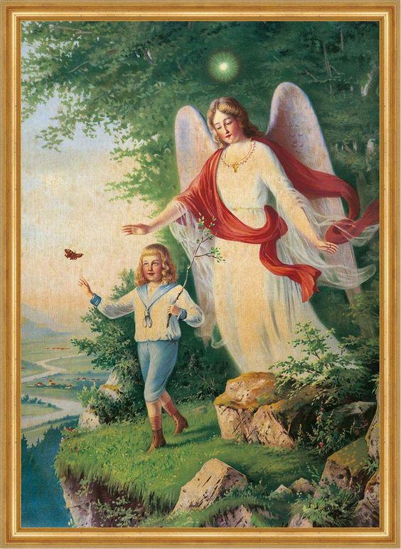 Knabe beim Schmetterlingsfangen am Abgrund Schutzengel St. LW Sankt A2 0051 - Billerantik: