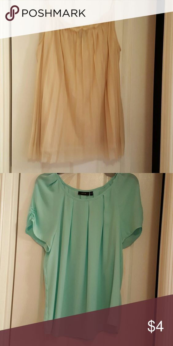2 tops xl 1 cream color top by Worthington and 1 mint color top xl by Apt 9. Cream is polyester and the mint is polyester. Great for work.gently worn. Tops Blouses