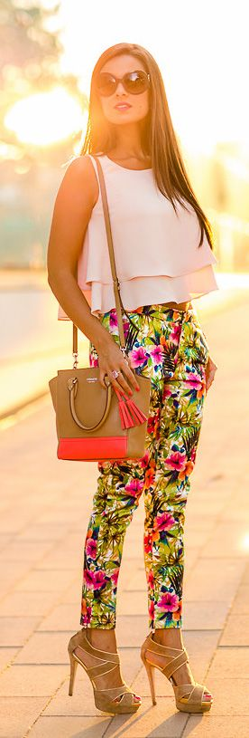 Chiffon Crop Top in White. Floral pants