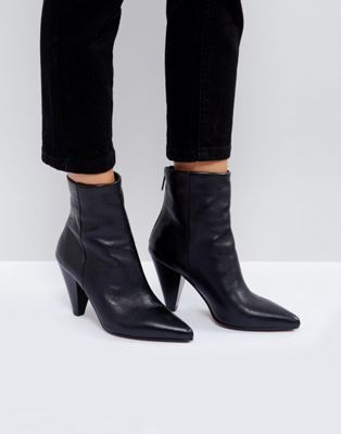 6b05a9bfa7fd ASOS ELODIE Leather Cone Heel Boots