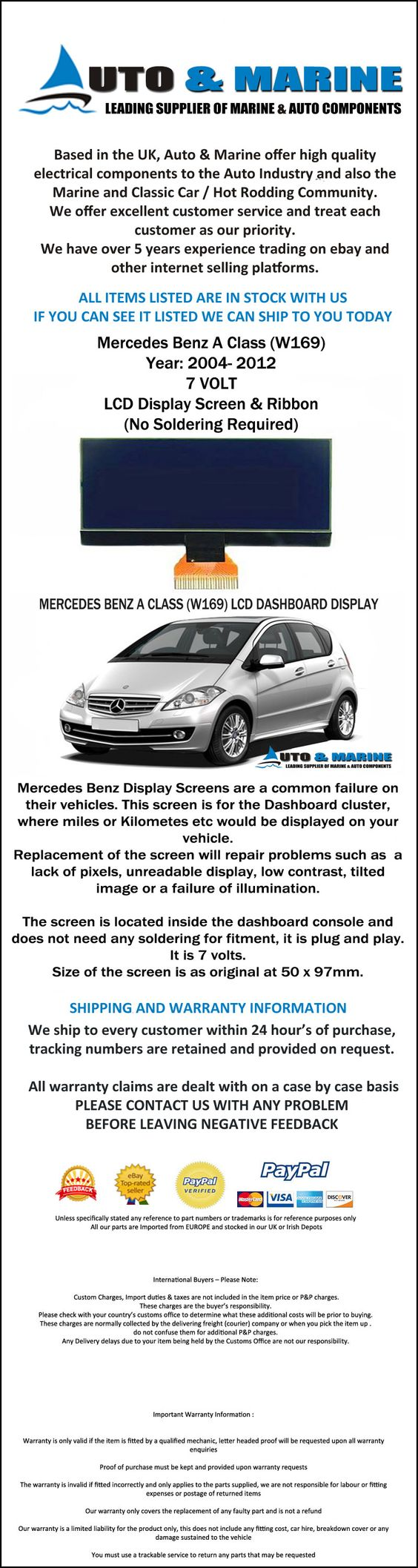 Details about MERCEDES BENZ A CLASS W169 LCD VDO DISPLAY DASHBOARD SCREEN 7  VOLT NEW
