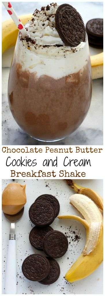 Chocolate Peanut Butter Cookies and Cream Breakfast Shake - Thick and creamy, this healthy shake is filling enough for breakfast or a guilt free dessert!!!