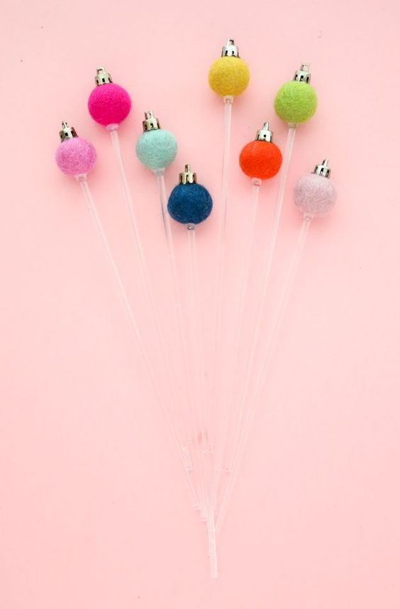 A Kailo Chic Life: DIY It - Felt Ball Ornament Drink Stirrers
