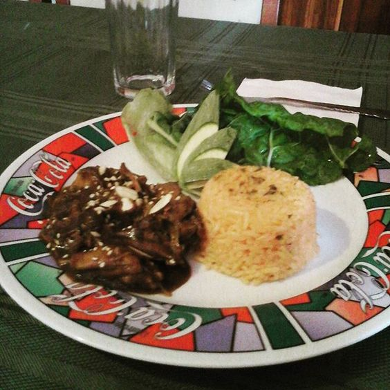 It was my turn to #cook today :) #mole #rice #chicken #rice #salad #realmencook by @victor_p11