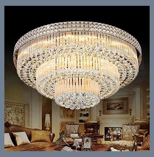 Chandelier For Living Room Amazon Com Kalri Modern K9 Crystal Chandelier Flush Mount Le Led Ceiling Light Fixtures Ceiling Lights Crystal Ceiling Light