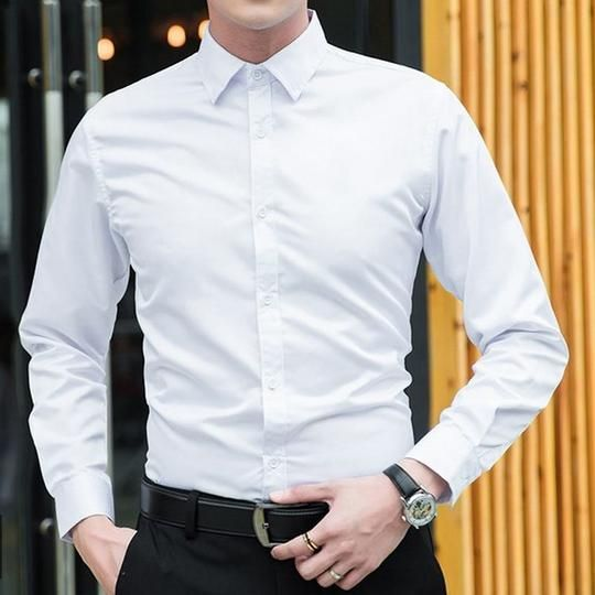 2018 New Fashion White Dress Shirts Men Long Sleeve Casual White ...