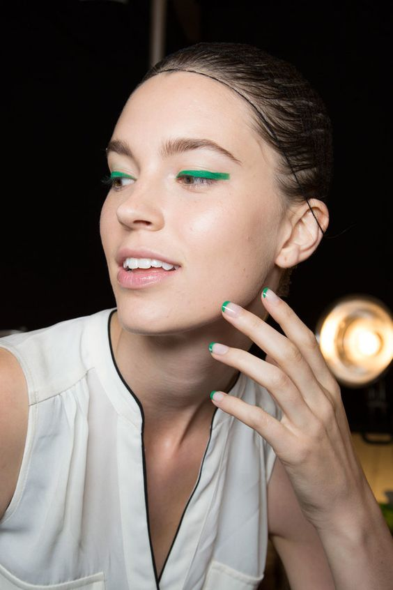 Green French manicure || Monique Lhuillier Spring 2016