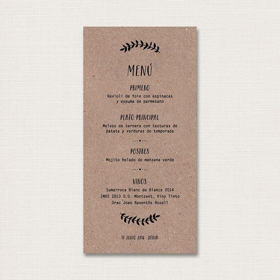 ¿Queréis tener una papelería bonita para el día de vuestra boda? Sorprender a vuestros invitados creando un ambiente elegante y con diseño. Minutas para bodas románticas, vintage, rústicas, chic… Personalizaremos el diseño con vuestro texto y los colores acordes a la decoración de vuestra boda.  Formato:20 x 10cm.  Impresión: Digital / 1 cara  Papel:Kraft de 300 gr  Pedido mínimo: 75 minutas  Nota: Recibiréis un boceto (pdf) personalizado antes enviar a imprenta.