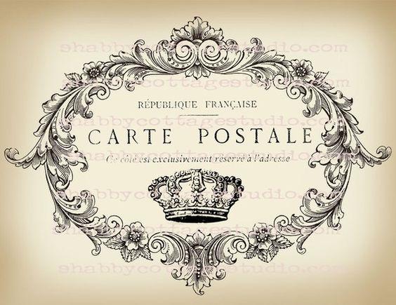instant download digital large format image carte postale crown fabric transfer fabrics large. Black Bedroom Furniture Sets. Home Design Ideas