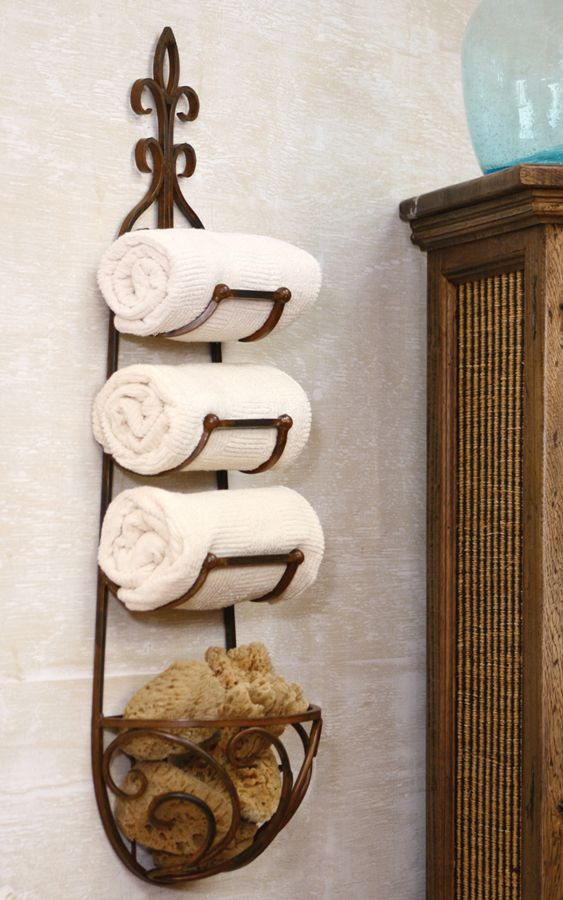 The Rustic Finish Belies The Artistry In This Three Slot Towel - Wine rack towel storage for small bathroom ideas