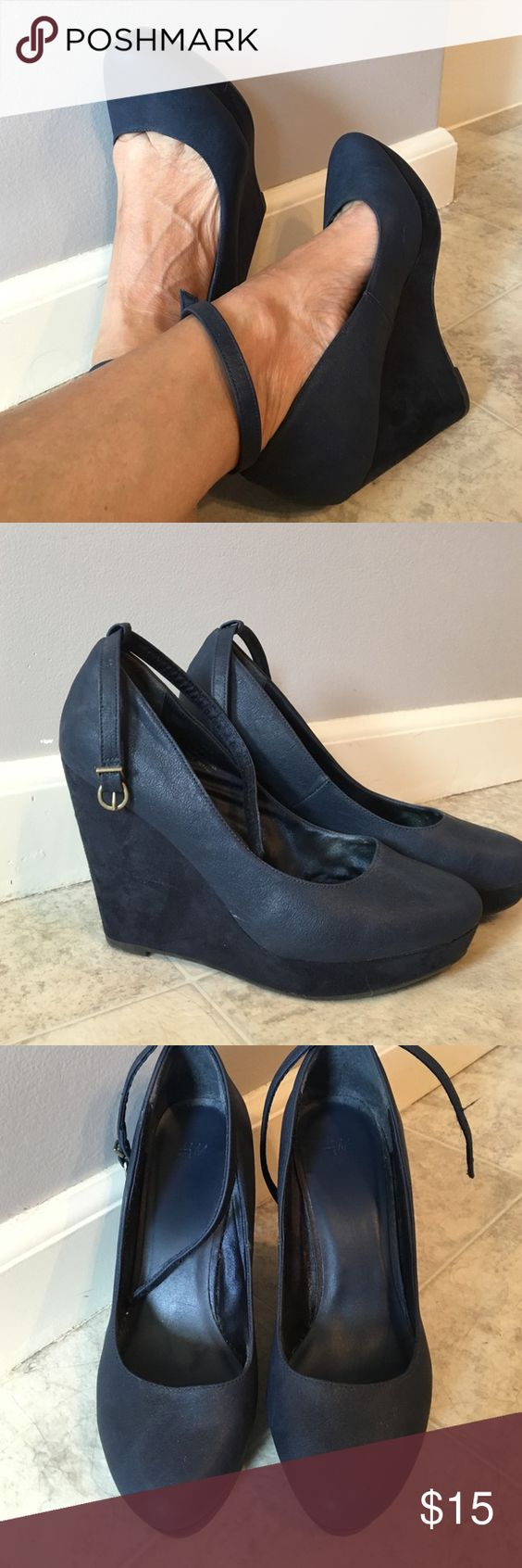 Wedges Great for fall looks.   Navy blue wedges with ankle strap. H&M Shoes Wedges