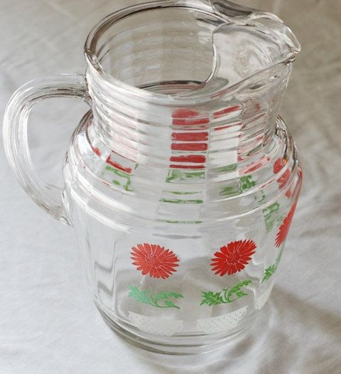 Vintage 96 ounce Glass Pitcher With Ice Lip Ice Tea by SweetDiggs