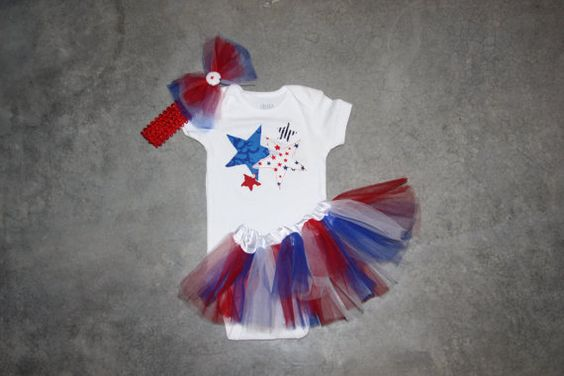 Baby Girls Patriotic Tutu Outfit with headband  3 by Beautiful6, $38.00