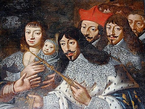 (l-r) Anne of Austria, the future Louis XIV, and Louis XIII, 1638, French school