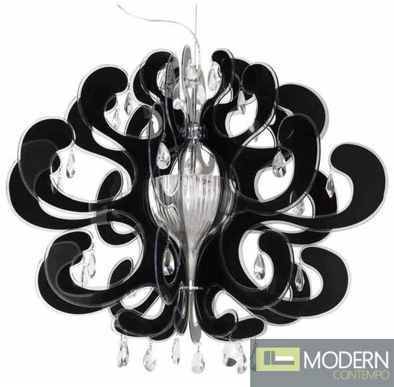 The Bergamo Pendant features an acrylic shade with black print, with clear crystals and a chrome finish canopy. #pendant http://moderncontempo.com/nuevo-bergamo-pendant.html