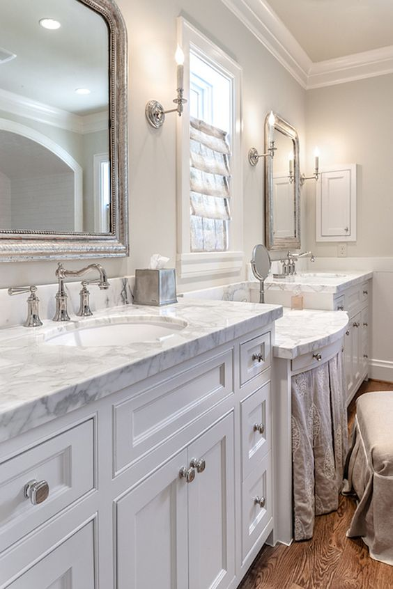 Bathroom Cabinet Ideas. Bathroom features light gray walls ...