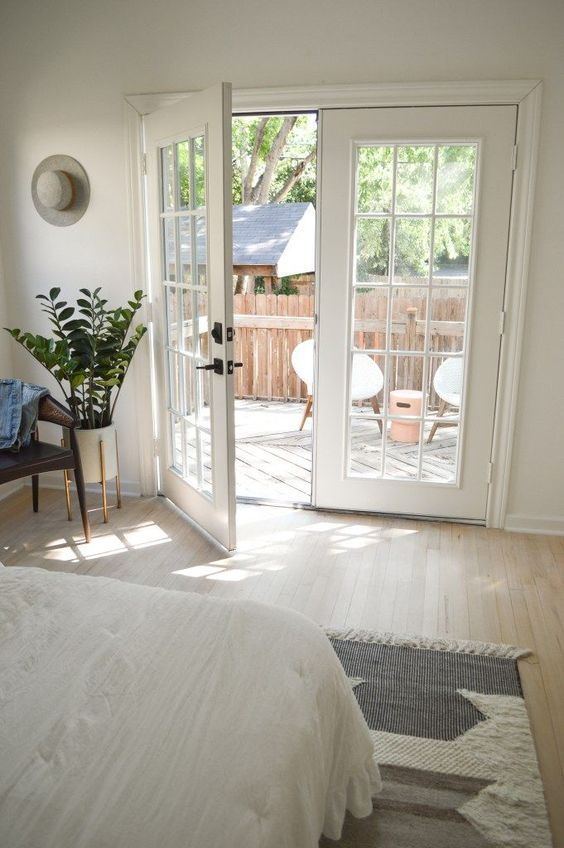 master bedroom renovation before + after | white bedroom ideas | master bedroom decor | French doors patio | home renovation | home decor ideas | modern boho decor | fixer upper before and after