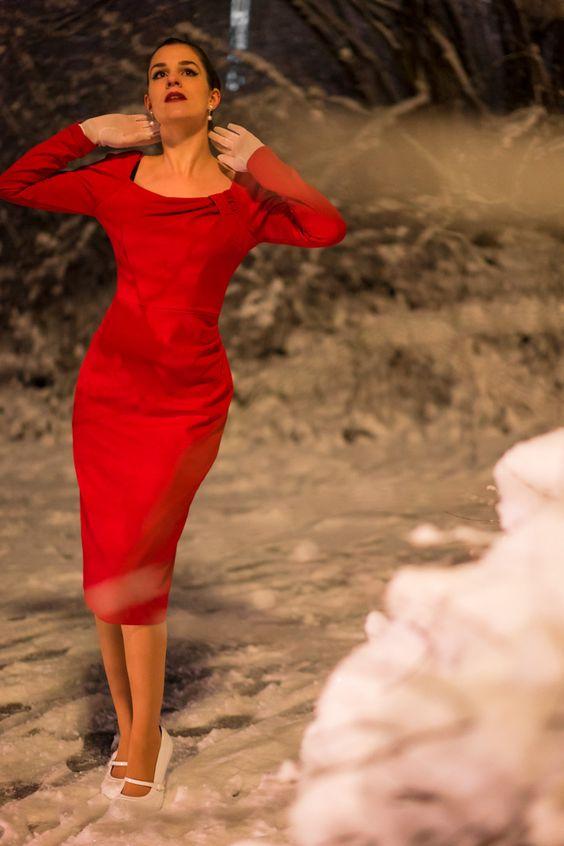 RetroCat wearing a The Pretty Dress Company dress