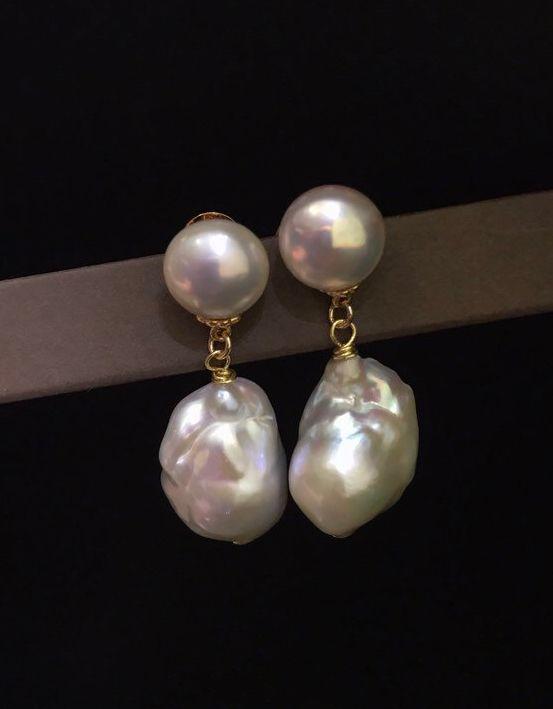 baroque pearl earrings,Pink baroque earrings,freshwater pearl earrings,gift for her
