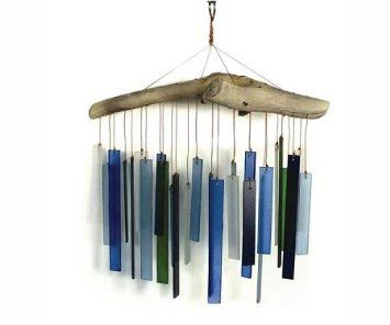 Amazon.com: Blue Handworks Beach Glass and Driftwood Wind Chime: Patio, Lawn & Garden