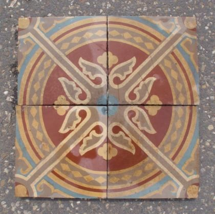 17 x 17 cm, Germany. Mesa Bonita has been collecting hydraulic tiles for the past 10 years. All the tiles have been saved from the city dumpsters and desperately need a second life. They can be turned into a pretty table, console, nightstand, frame, trivet, coaster… Contact me for information, I have a wide selection of styles and colors and a whole bunch of ideas: Benedicte Bodard  Mesa Bonita/Barcelona Tiles benedictebodard@gmail.com www.mesabonita.es https://www.pinterest.com/bbodard/