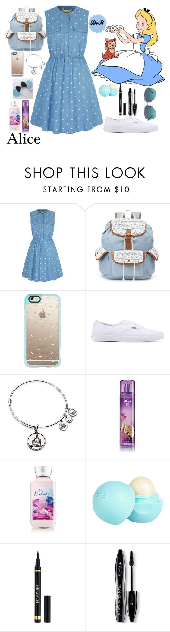 """""""Alice"""" by disneyonrepeat ❤ liked on Polyvore featuring Yumi, Mudd, Casetify, Vans, Disney, River Island, Yves Saint Laurent, Lancôme, Tiffany & Co. and disney"""