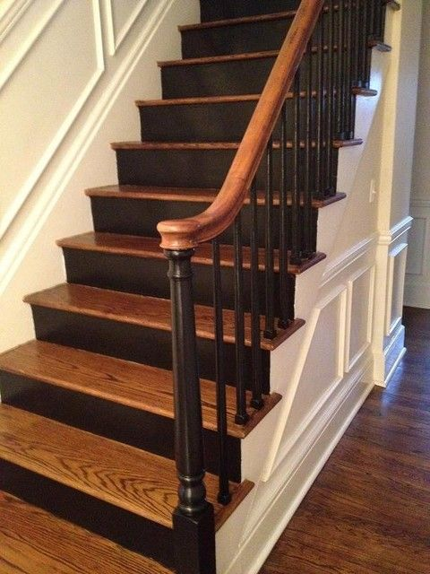 Best Painted Spindles Black Spindle Traditional Staircase 640 x 480