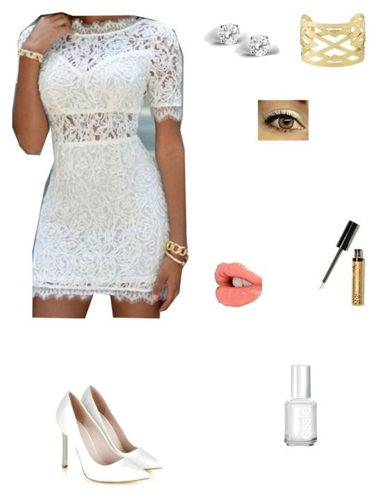 """White & Gold Perfect"" by angelicarorie36 ❤ liked on Polyvore"