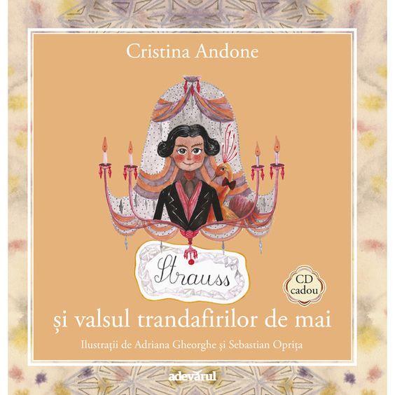 Strauss si valsul trandafirilor de mai - Carte + CD: Varsta: 3+; În Pădurea Muzicală, parfumul rozelor de mai ne poartă către un luminiș străjuit de castani în floare - chiar acolo se află o casă ale cărei ferestre luminate sunt înlănțuite de iederă și trandafiri. Se spune că Strauss a ales castanul pentru frunzele sale în formă de coadă de păun, dar mai ales pentru florile acestuia ca niște candelabre răsturnate.