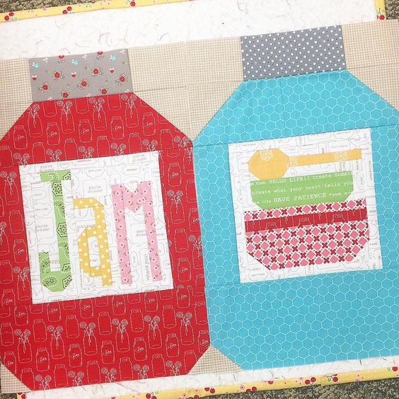 """This larger mason jar that fits a 6"""" farm girl block label is also included as well as the """"JAM"""" block in two sizes in my new Happiness is Homemade PDF pattern at @fatquartershop ...there is a pillow pattern included too!  #beeinmybonnet #happinessishomemadeblock #homemadejamblock"""