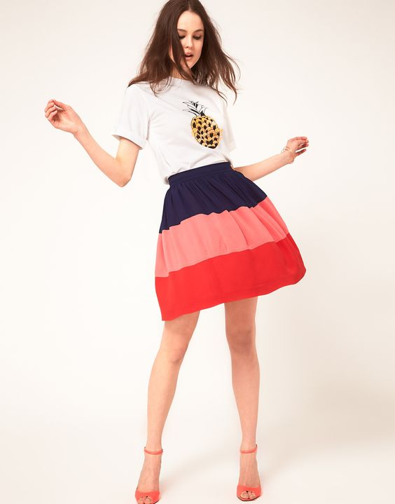 Boutique By Jaeger Color Block Skirt
