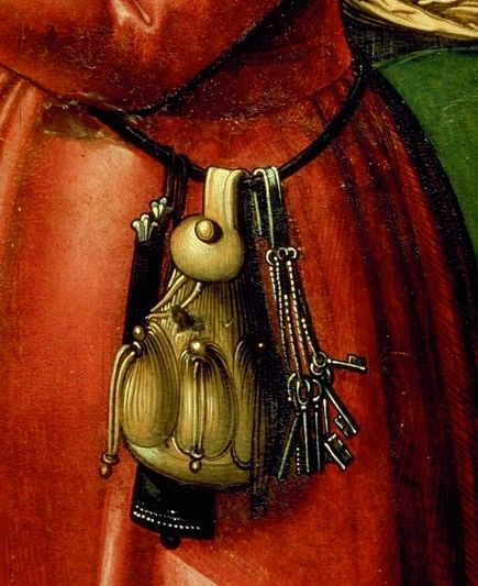 15th century purse - not jewelry per se, but gives a good example of how a chatelaine might have been worn.: