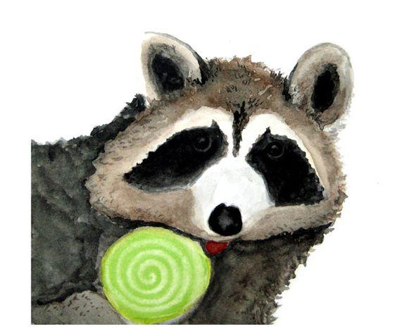 Raccoon eating lollipop -  Art by CynthiaCranesArt