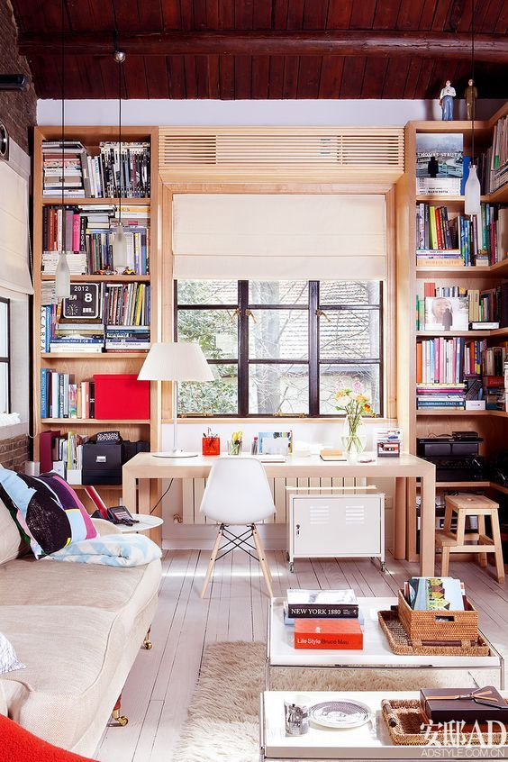 The Ductless Indoor Hi Wall Unit Is Hardly Noticeable In It S Own Enclosure Next To These Booksh Air Conditioner Cover Indoor Air Conditioner Units Home Styles