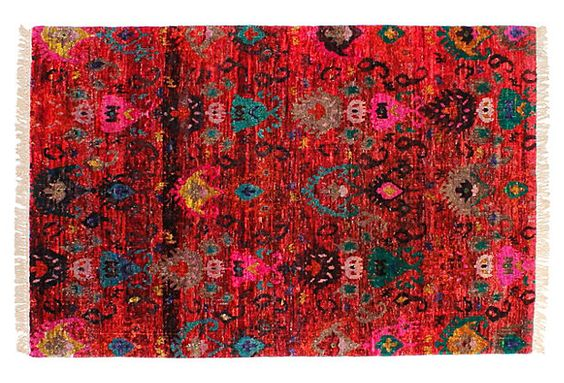 4x61  Sari Silk Ikat Rug, Red on OneKingsLane.com beautiful silk rug!! I got there too late, all were sold out :(
