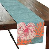 Found it at AllModern - Coastal Applique Octopus with Print Coral Table Runner