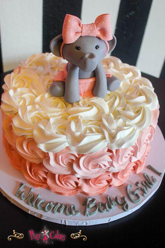 Pixy Cakes Baby Shower Cake Buttercream Swirl Girl  Tier Elephant Vwpgu