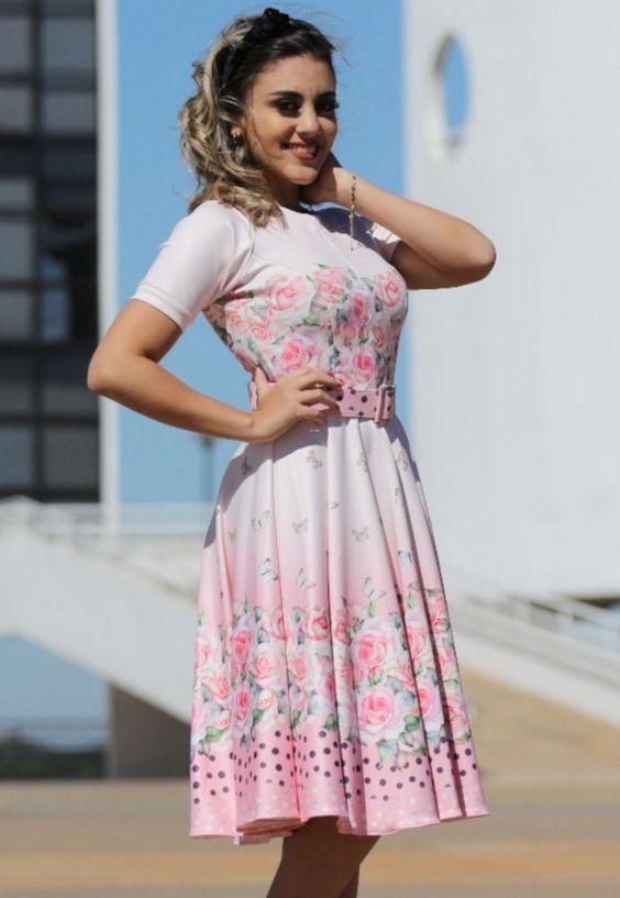 Vestido Midi Florido com Cinto - Moda Evangélica - Flor de Amêndoa