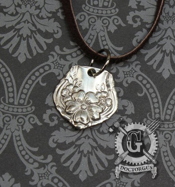 Arbutus 1908 Pattern Spoon Pendant - Handmade by Doctorgus from Recycled Vintage Silverware - Repurposed Upcycled Jewelry
