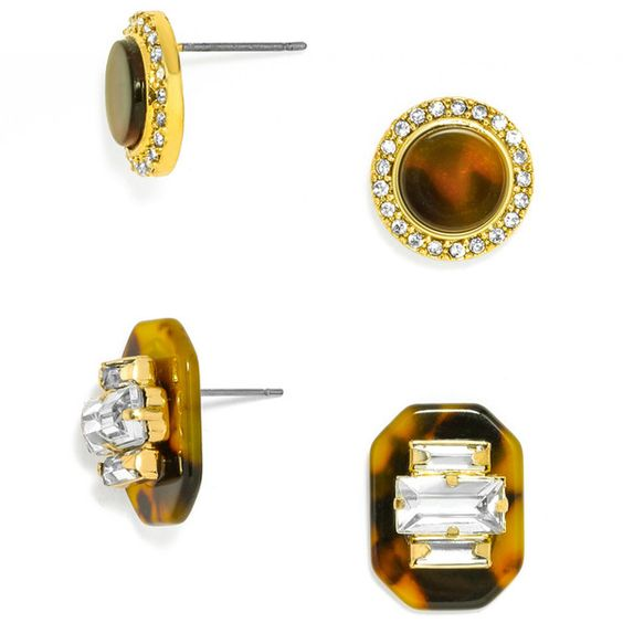 BaubleBar Buchanan Stud Set ($32) ❤ liked on Polyvore featuring jewelry, earrings, tortoise shell earrings, crystal stud earrings, tortoiseshell jewelry, baguette earrings and crystal earrings