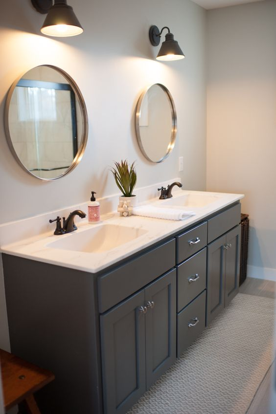 Kendall charcoal benjamin moore moonshine and charcoal on for Charcoal bathroom accessories